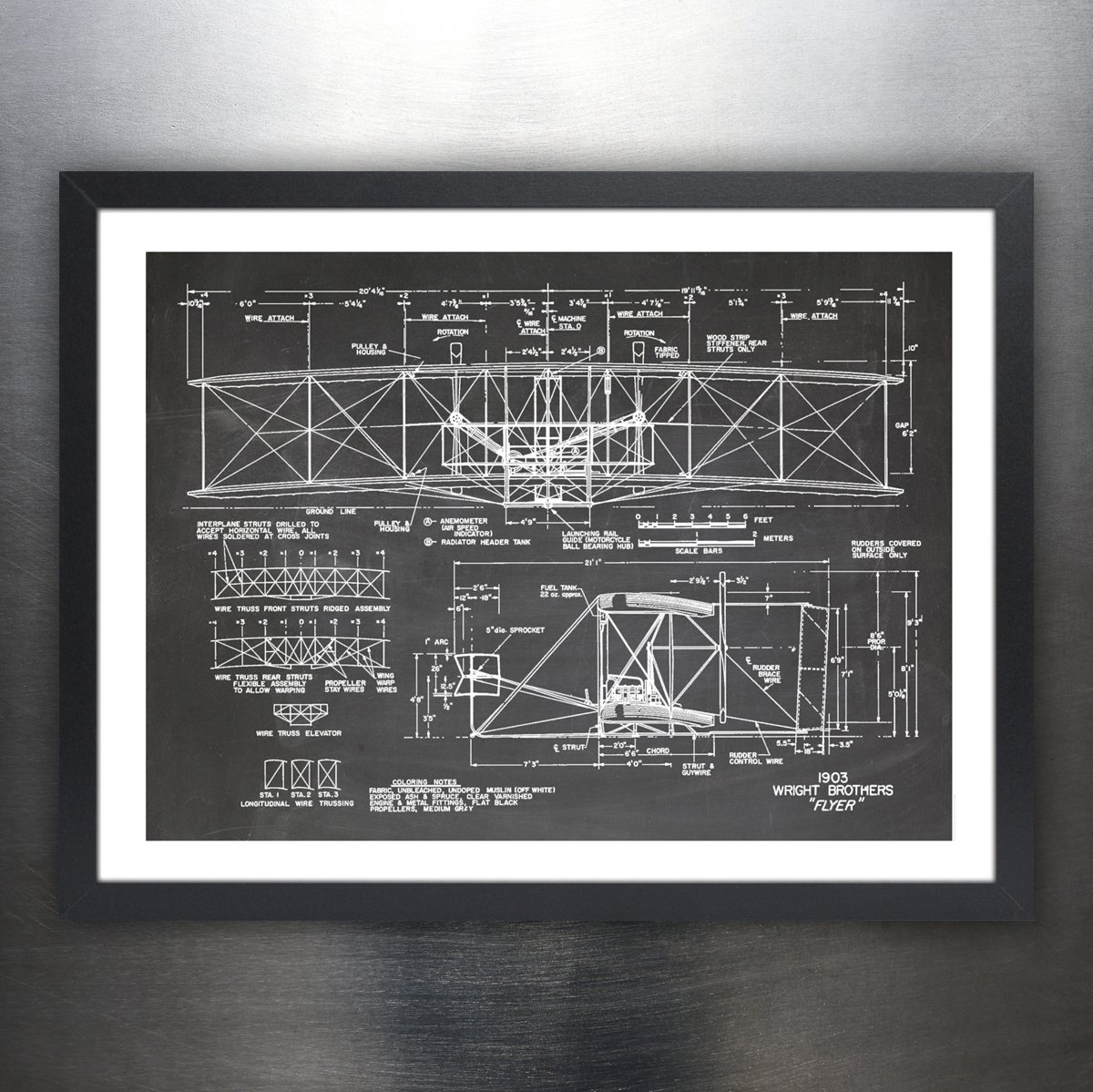 Gifts for men wright airplane diagram art what to buy a guy fly high with a wright brothers plane diagram ccuart Images