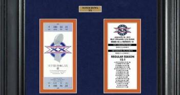 Super Bowl Ticket collection framed